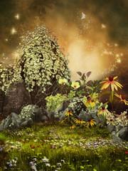Fototapeta Fantasy Zaczarowana łąka z kamieniami, kwiatami i motylami