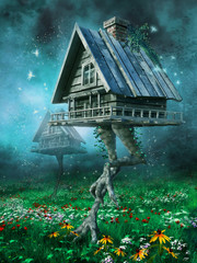 Fototapeta Fantasy Domki na kurzej stopie na łące