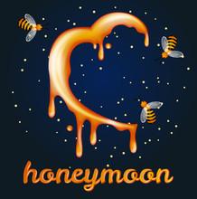 Honey Moon Concept. Heartshape...