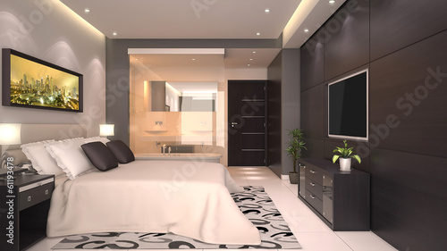 Bright modern interior of hotel room or condominium u kaufen sie