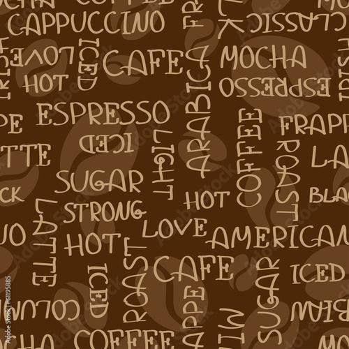 Coffee words seamless pattern