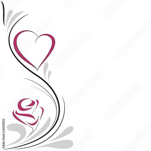 Fotografie, Obraz  cuore e rosa decorazione