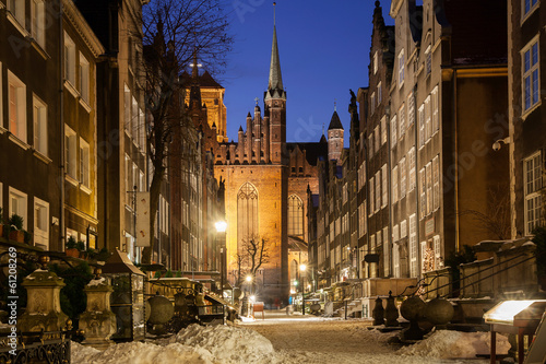 Old town of Gdansk in winter scenery
