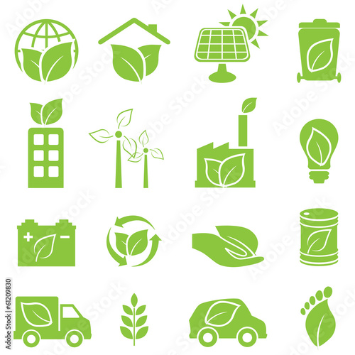 Fotografie, Obraz  Green eco and environment icons