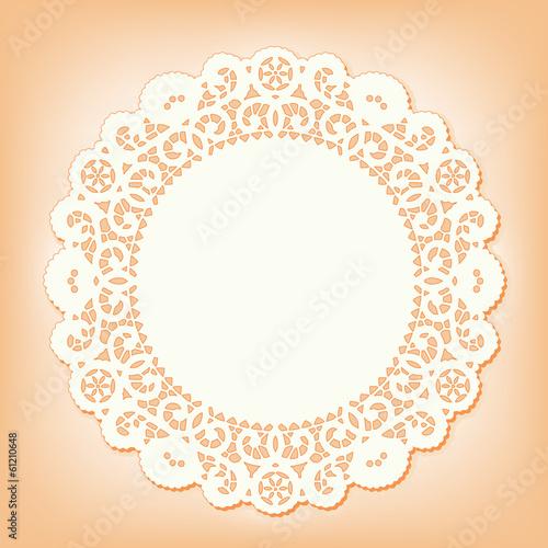 Fotografia, Obraz  Lace Doily Place Mat, vintage pattern, copy space. pastel coral