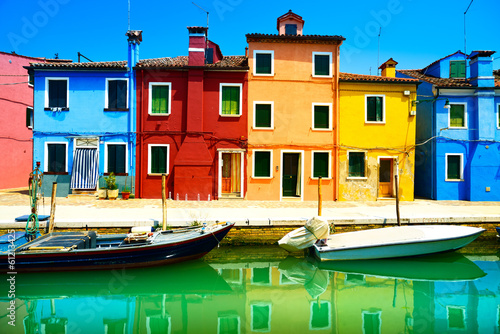 Venice landmark, Burano island canal, colorful houses and boats, Fototapet