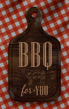 Poster With Meat Cutting Brown Wood Board Lettering BBQ For You