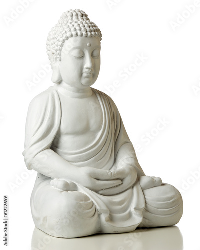 Tuinposter Boeddha Statue of Buddha in lotus position, isolated on white