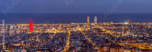 Poster Barcelona Barcelona skyline panorama at night