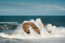 Big Waves Breaking Against The Rocks, Urros, Cantabria, Spain