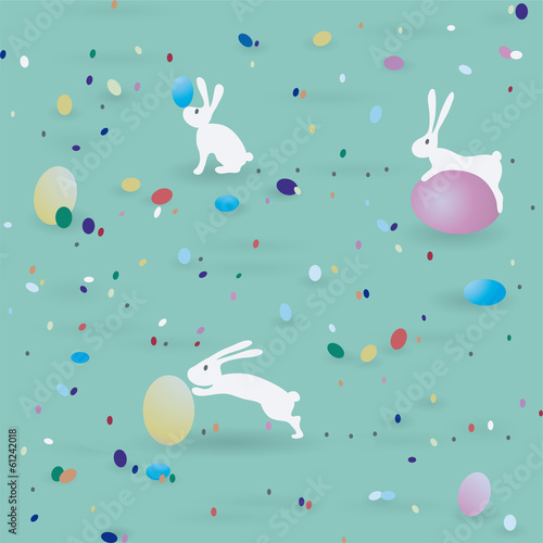 Cotton fabric Easter pattern / Seamless print with bunnies end eggs