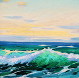 sea landscape, painting by oil on canvas, illustration