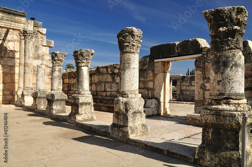 Ruins of ancient synagogue in Capernaum. Israel. Wallpaper Mural