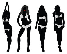 Silhouettes Of Bikini Girls, Vector Illustration