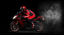 Motorcyclist In Red Equipment ...