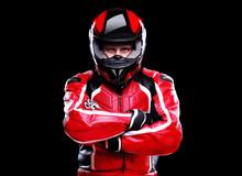 Biker In Helmet On Black Backg...