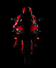 Motorcyclist In Red Equipment  Low Key Silhouette