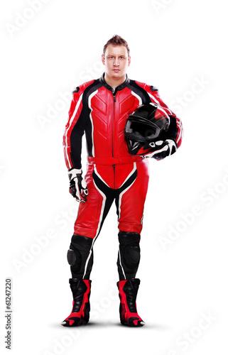 Obraz na płótnie Full length portrait of a motorcyclist