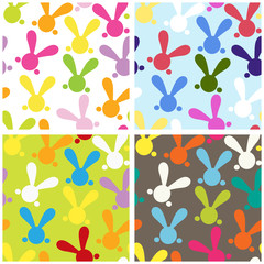 Set of colorful seamless paterns with easter bunny