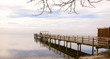 Wooden Dock with Birds Quiet Lake During Winter Season