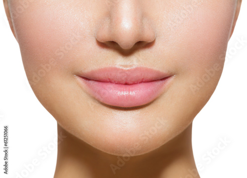 Beautiful Perfect Lips. Sexy Mouth Closeup over white Poster Mural XXL