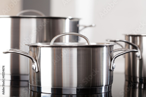 Fotografie, Obraz  Aluminum pots on the kitchen top