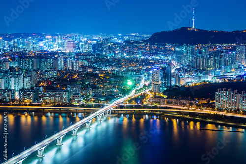 Fotobehang Seoel Seoul city at night