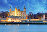 Fototapeta Londyn - Tower of London at night, UK