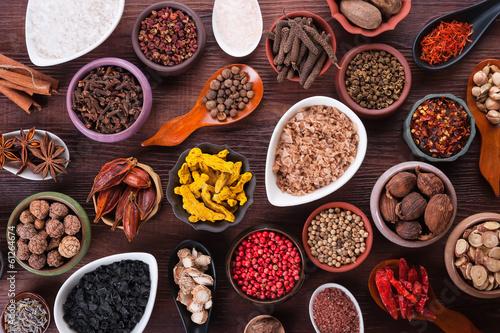 Keuken foto achterwand Kruiden Large set of spices, seasonings and salt