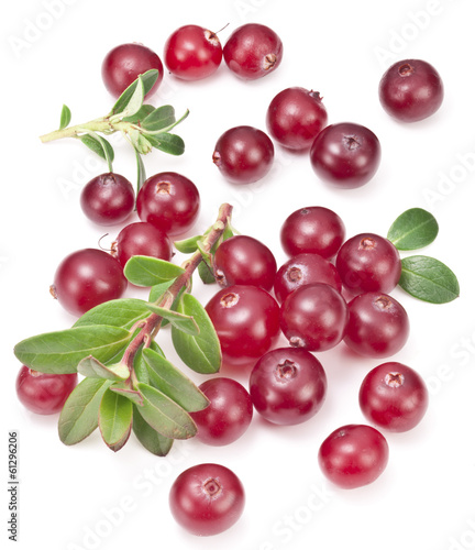 Cranberries with leaves. Fototapet