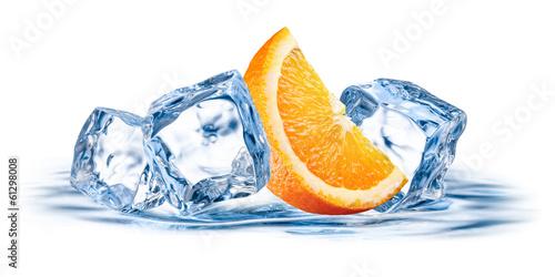 Orange fruit with ice isolated on white background