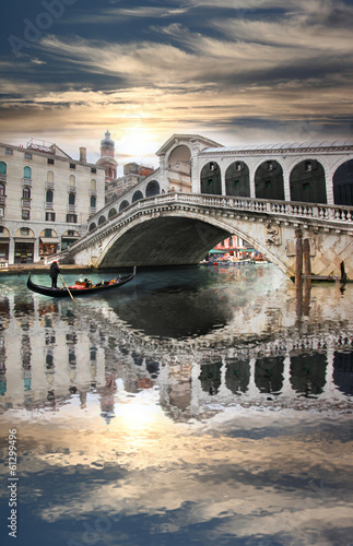 Foto op Canvas Venice Venice with Rialto bridge in Italy