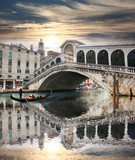 Venice with Rialto bridge in Italy
