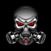 Skull Wearing A Gas Mask