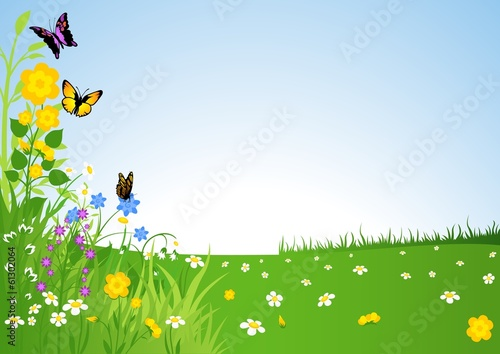 Foto op Canvas Blauwe hemel Spring Meadow - Cartoon Background