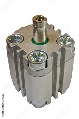 Valokuva  Pneumatic cylinder, machine part, on white background isolate