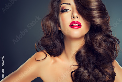 Fotografie, Obraz  Model with beautiful curle  hair