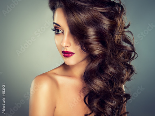 Model with beautiful curly  hair Canvas Print
