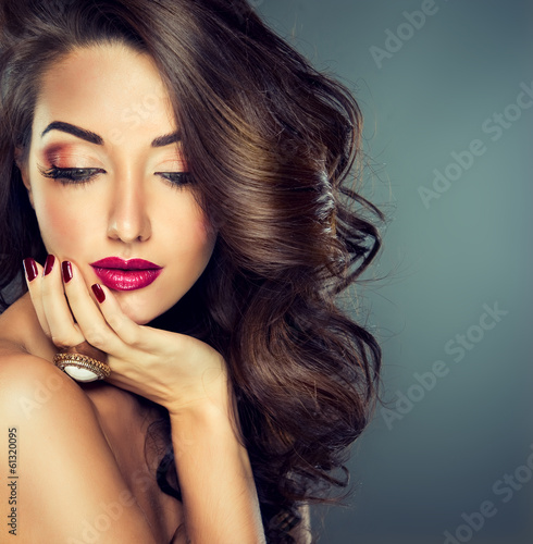 Fotografie, Obraz Model with beautiful curly hair
