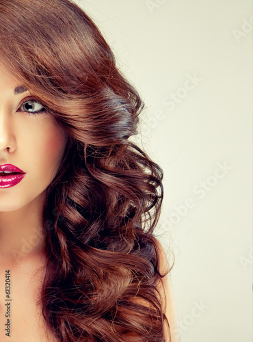 Model with beautiful curly hair Slika na platnu