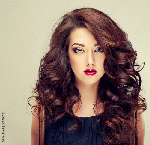 Fotografija  Model with beautiful curly  hair