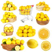 Collage Of Ripe Lemons Isolated On White