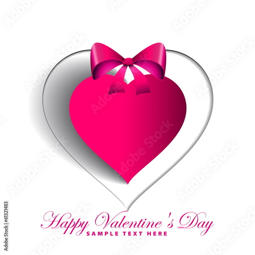Photo  Heart Paper Sticker With Shadow, Valentine love card, vector ill