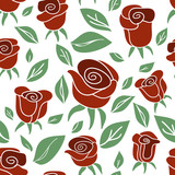 Vintage seamless pattern Roses (red, green, white)