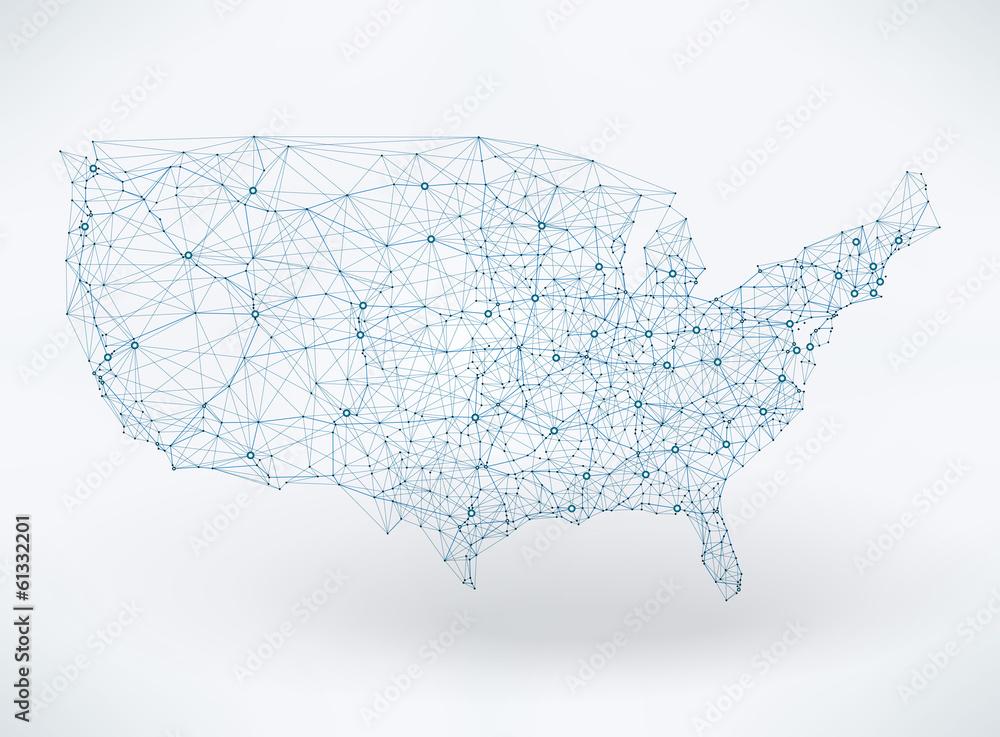 Fototapeta Abstract telecommunication USA map