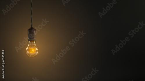 Vintage hanging light bulb over dark background Canvas Print