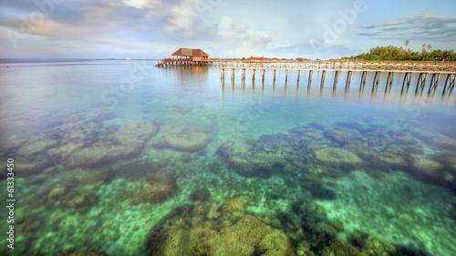Fotografía  Long pier dan beautiful coral at Mabul Island