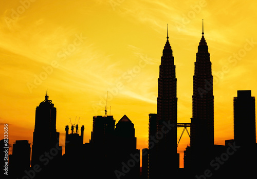 Canvas Prints Kuala Lumpur Silhouette of KLCC tower during golden sunrise