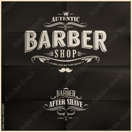Naklejka premium Odznaki Vintage Barber Shop