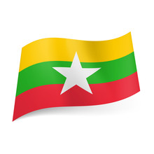 State Flag Of Republic Of The Union Of Myanmar